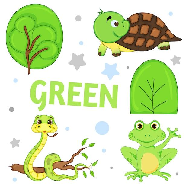 Ensemble d'animaux sauvages et d'insectes pour les enfants verts Vecteur Premium