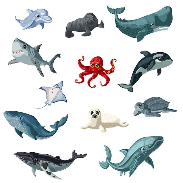 Ensemble D'animaux Sous-marins Colorés De Dessin Animé Vecteur Premium