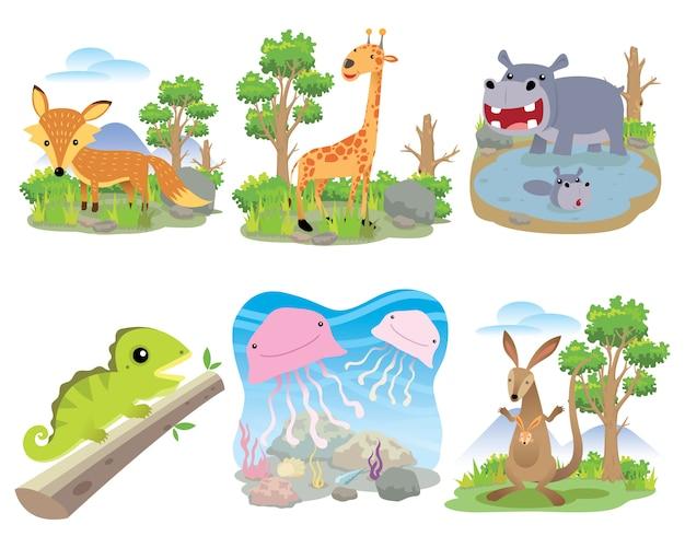 Ensemble d'animaux vecteur, renard, girafe, hippopotame, caméléon, méduse, kangourou, Vecteur Premium