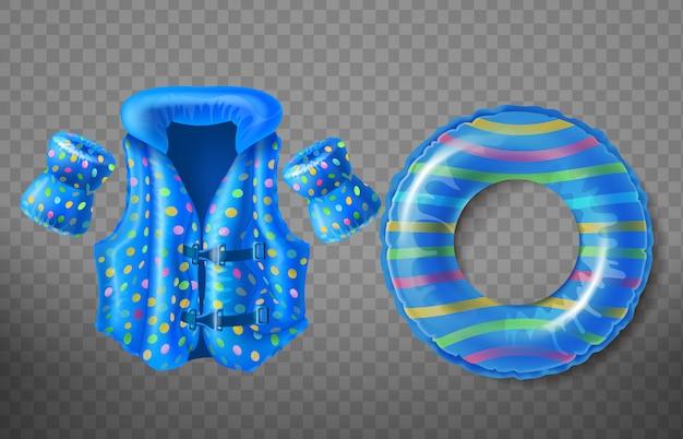 Ensemble avec anneau en caoutchouc bleu, gilet de sauvetage et brassards gonflables pour enfants Vecteur gratuit