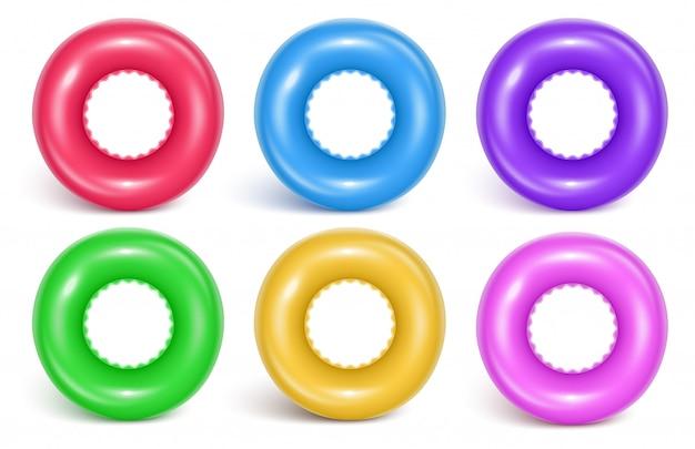 Ensemble d'anneaux gonflables de natation Vecteur Premium