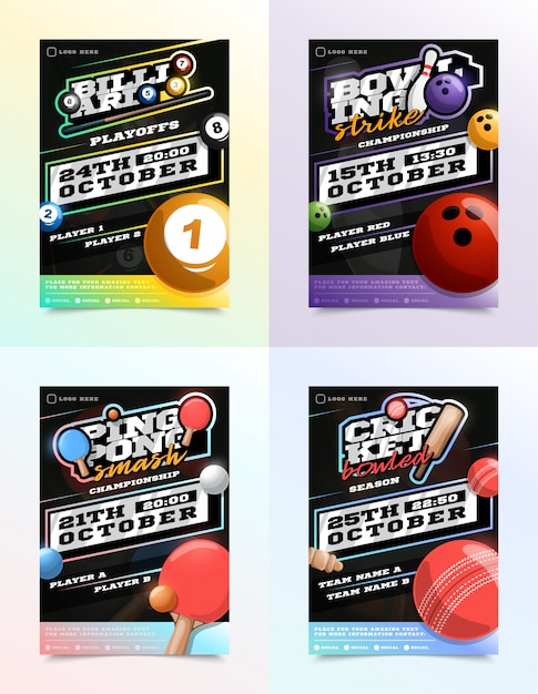 Ensemble D'annonces Sport Flyer. Billard, Bowling, Tennis De Table Et Ping-pong Vecteur Premium