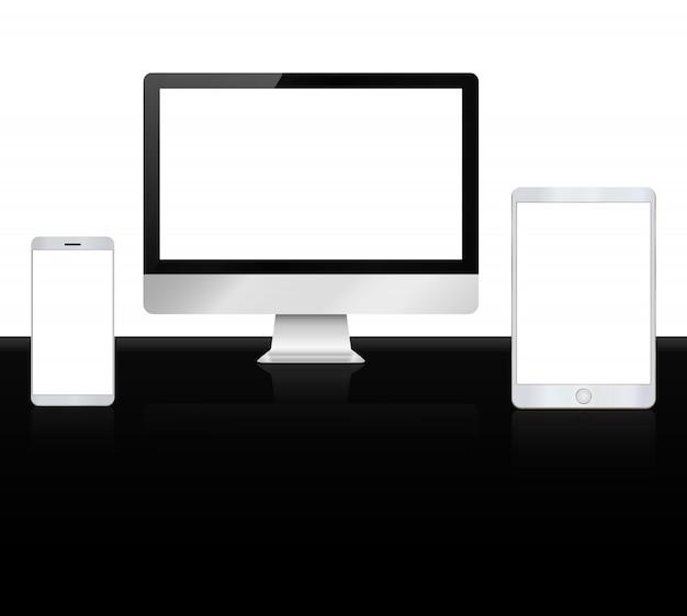 Ensemble d'appareils apple de haute qualité Vecteur Premium