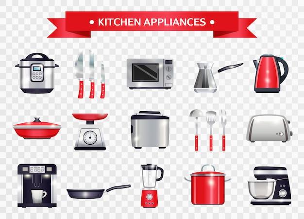 Ensemble d'appareils de cuisine Vecteur gratuit