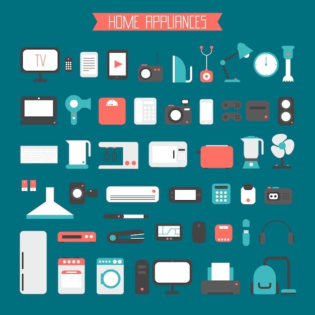 Ensemble D'appareils électroniques Et Icônes D'appareils Ménagers En Style Plat Vecteur Premium