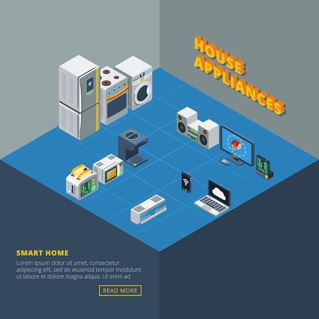 Ensemble D'appareils Ménagers Isométrique Vecteur gratuit