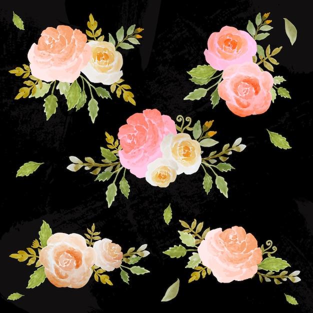 Ensemble aquarelle d'arrangement floral Vecteur Premium