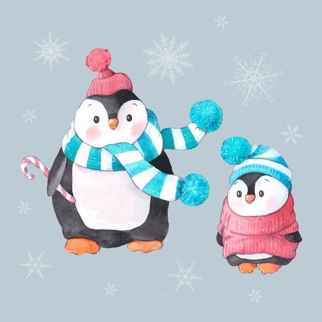 Ensemble Aquarelle De Deux Pingouins Pour Noël Vecteur Premium