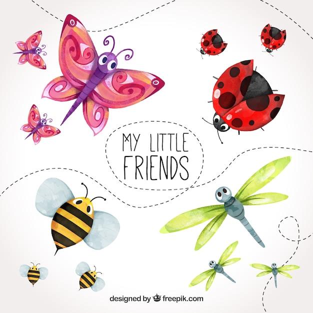 Ensemble aquarelle d'insectes mignons Vecteur gratuit