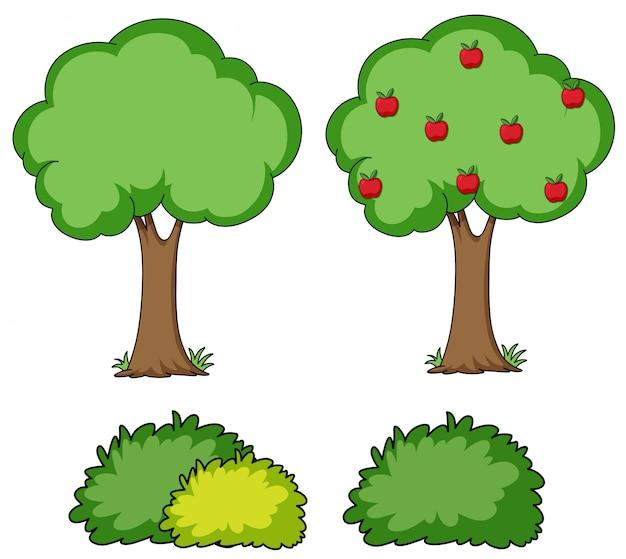 Ensemble d'arbre simple Vecteur gratuit
