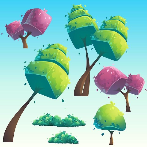 Ensemble D'arbres Futuristes Naturels De Dessin Animé Isolé Vecteur Premium