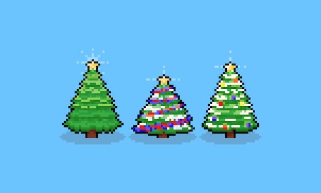 Ensemble Darbres De Noël Dessin Animé Pixel Art