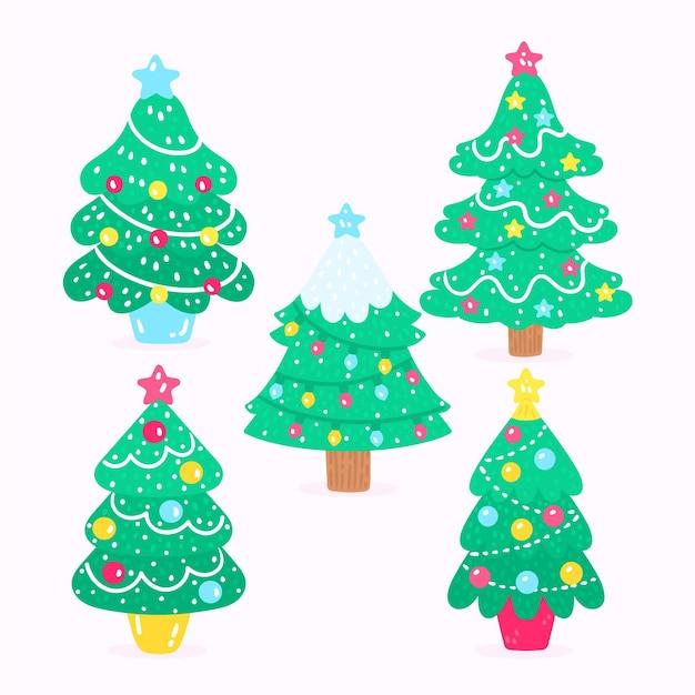 Ensemble D'arbres De Noël Dessinés à La Main Vecteur gratuit