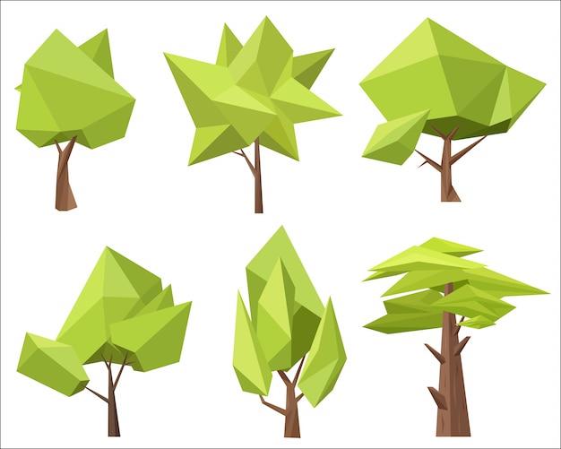 Ensemble d'arbres polygones low poly Vecteur Premium
