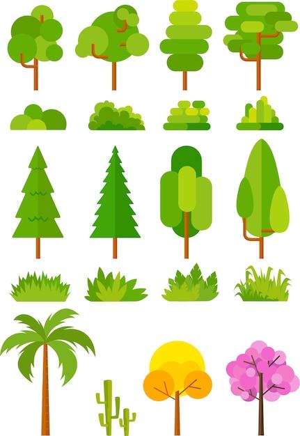Ensemble d'arbres pour images vectorielles parc et paysage Vecteur Premium