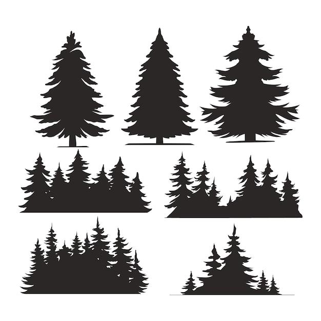 Ensemble D'arbres Vintage Et De Silhouettes De Forêt Vecteur gratuit