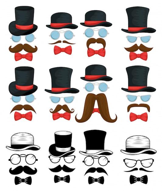 Ensemble D'arcs De Cravate Avec Chapeaux Et Lunettes Vecteur gratuit