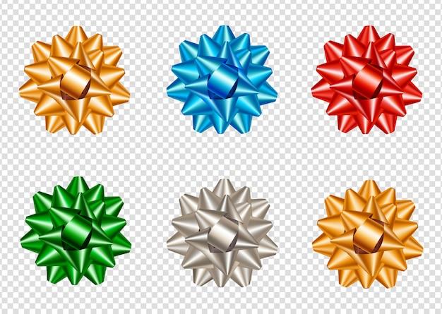 Ensemble d'arcs étoiles réalistes et colorées Vecteur Premium