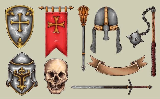 Ensemble d'arme d'armure de chevalier Vecteur Premium