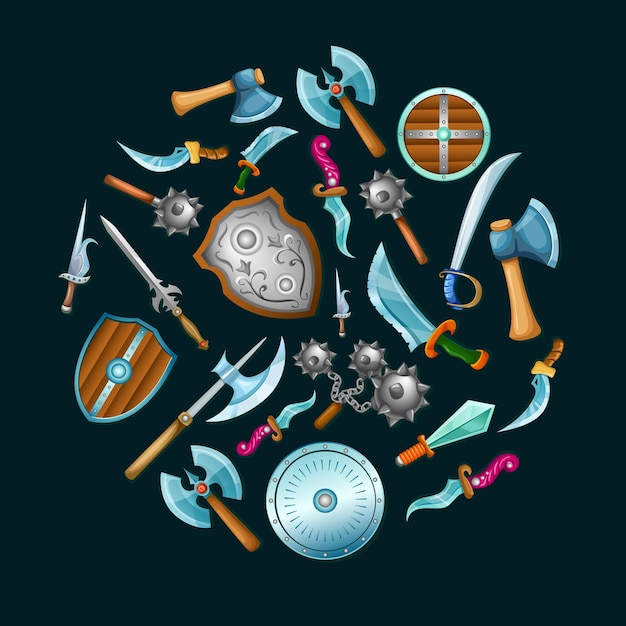 Ensemble D'armes Médiévales Vecteur gratuit