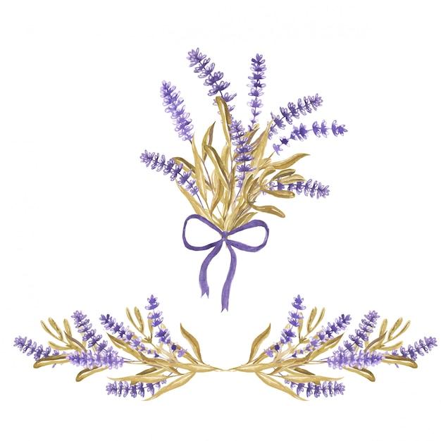 Ensemble d'arrangement floral de lavande et bouquet Vecteur Premium