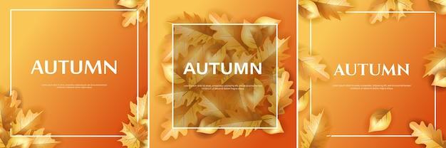 Ensemble D'arrière-plan Ou D'affiche De Conception D'automne Vecteur Premium