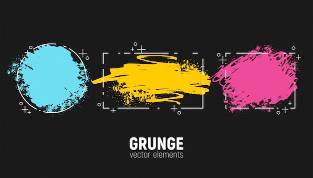 Ensemble D'arrière-plans Grunge. Dessin à La Main Des Coups De Pinceau. Vecteur Premium