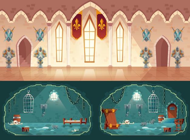 Ensemble d'arrière-plans de jeux de dessins animés, salle du château médiéval ou salle de bal avec des gobelins Vecteur gratuit