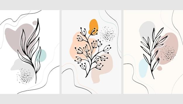 Ensemble D'arrière-plans Avec Plantes Et Abstraction Vecteur Premium
