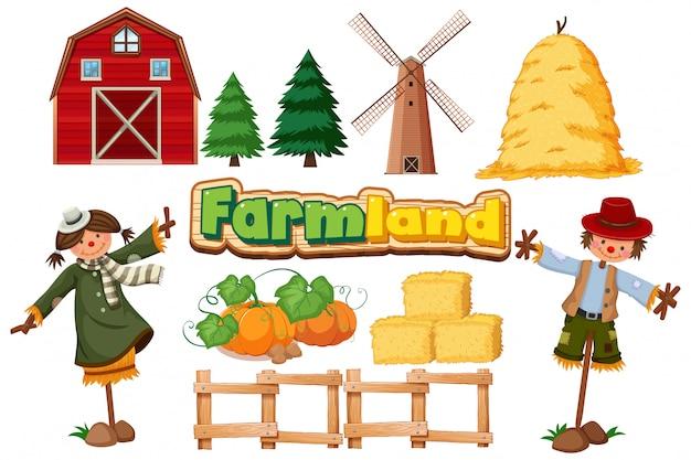 Ensemble D'articles Agricoles Sur Fond Blanc Vecteur gratuit