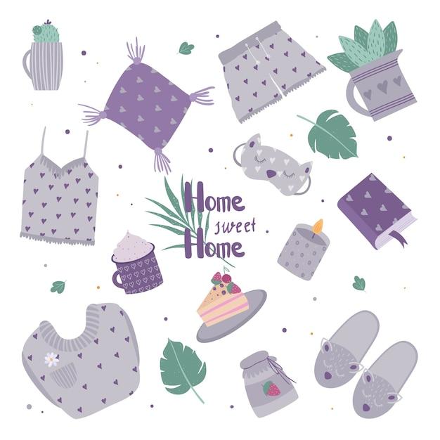 Ensemble D'articles De Décoration Mignons Pour Des Vacances Confortables à La Maison. Illustration D'une Plante à La Maison, Bougie, Pyjama, Gâteau. Vecteur Premium