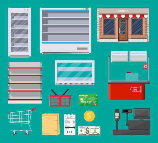 Ensemble D'articles De Supermarché. Vecteur Premium
