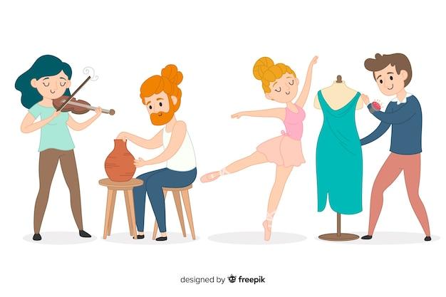 Ensemble d'artistes de différentes disciplines: musicien, artisan, couturier, danseur Vecteur gratuit