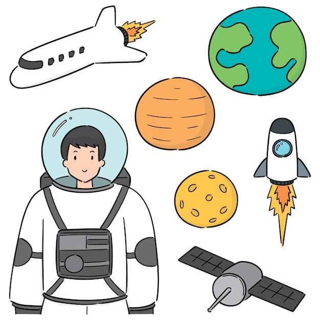 Ensemble d'astronaute Vecteur Premium