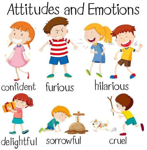 Ensemble d'attitudes et d'émotions des enfants Vecteur gratuit