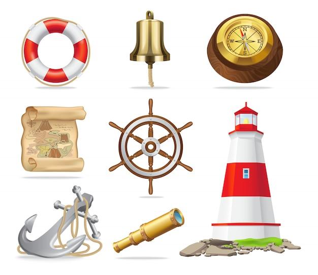 Ensemble d'attributs marins d'illustrations vectorielles isolées Vecteur Premium
