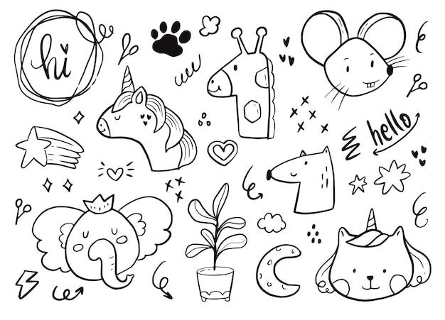 Ensemble D'autocollants Animaux Bébé Mignon. Licorne, éléphant, Dessin Arc-en-ciel Sur Fond Blanc Illustration Vecteur Premium
