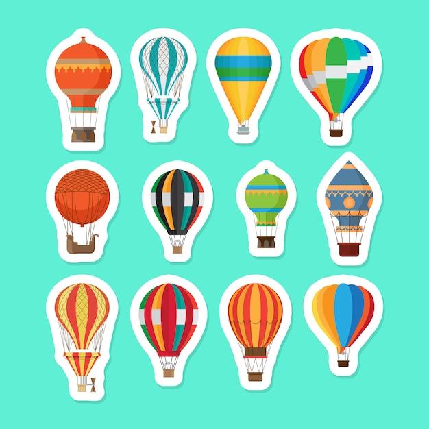 Ensemble D'autocollants Ballons à Air Chaud Vintage Vecteur Premium