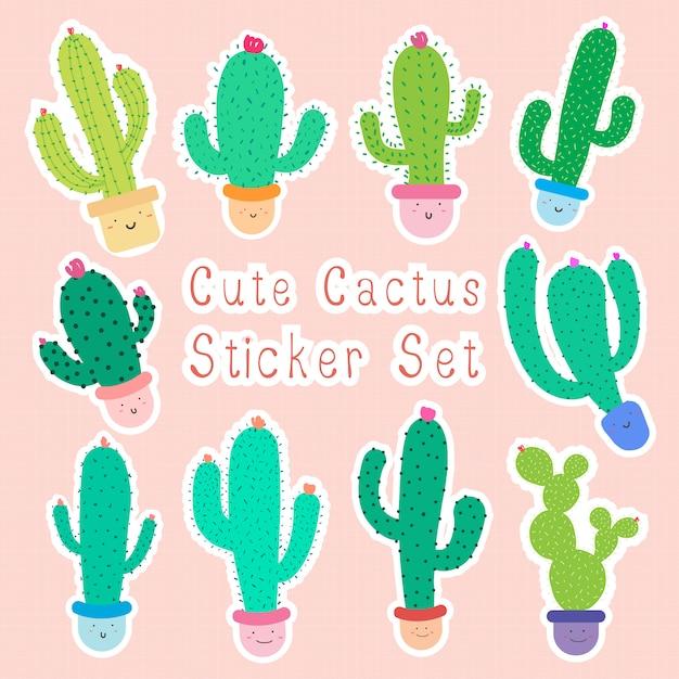 Ensemble d'autocollants de cactus de dessin animé mignon avec des visages heureux en pots Vecteur Premium