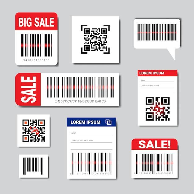 Ensemble d'autocollants codes barre et qr avec texte de vente et espace de copie numérisation collection d'icônes Vecteur Premium