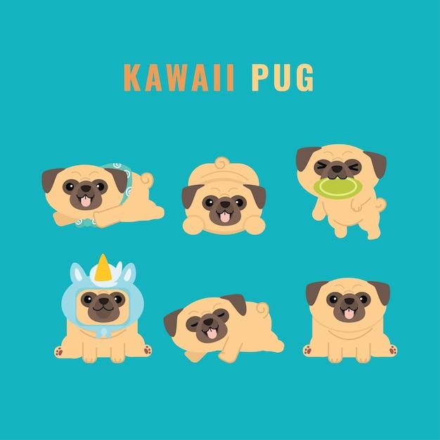 Ensemble D'autocollants De Collection De Personnages Kawaii Cute Pug Vecteur Premium