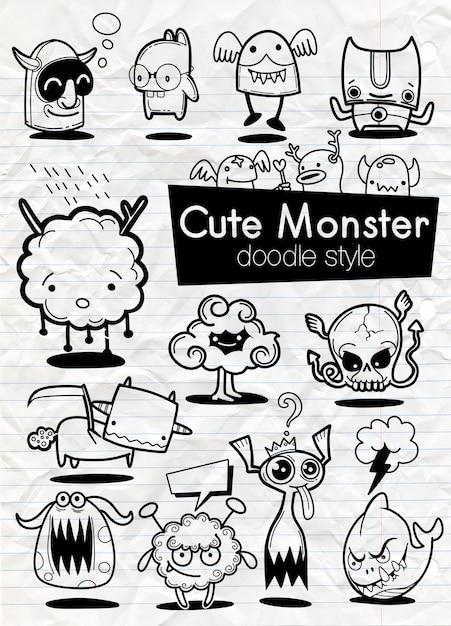 Ensemble d'autocollants de dessin animé de monstres Vecteur Premium
