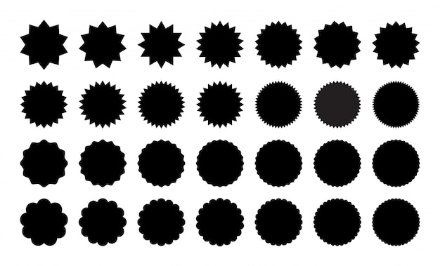 Ensemble d'autocollants divers. collection d'autocollants noir et blanc, badge, timbre Vecteur Premium