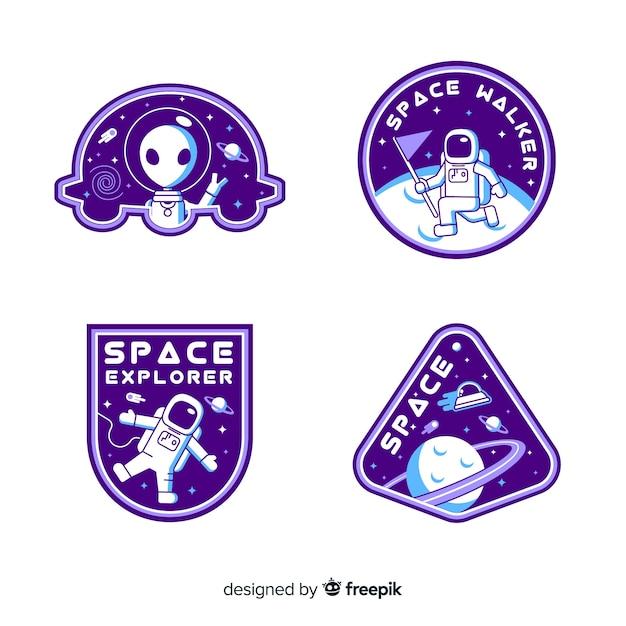 Ensemble d'autocollants de l'espace avec différentes formes Vecteur gratuit