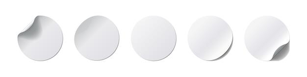 Ensemble D'autocollants Realistick. étiquette Ronde Avec Coin Incurvé Et Ombre Sur Fond Blanc. Illustration. Collection Vecteur Premium