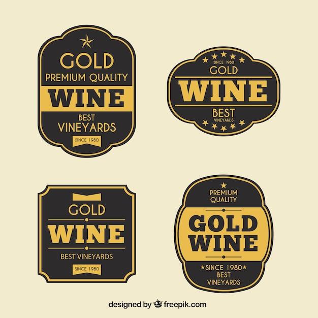 Ensemble d'autocollants réels en vin doré Vecteur gratuit