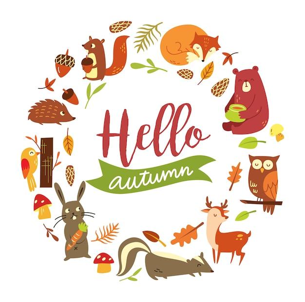 Ensemble d'automne animal isolé sur fond blanc Vecteur Premium