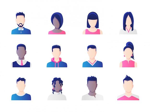 Ensemble d'avatar. groupe de diversité des personnes qui travaillent, diverses icônes d'avatar des hommes et des femmes d'affaires. illustration de personnages personnages de design plat. Vecteur Premium