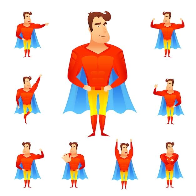 Ensemble d'avatar de super-héros Vecteur gratuit
