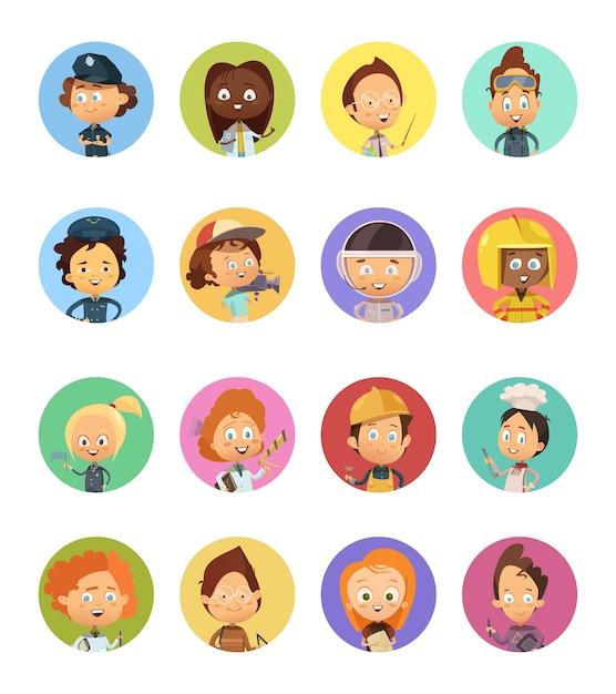 Ensemble d'avatars de bandes dessinées de professions des personnes utilisées pour les enfants avec des images Vecteur gratuit